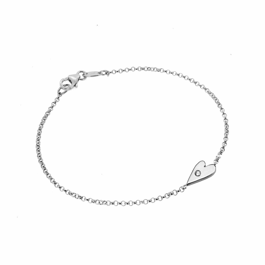 Heart Bracelet with White Sapphire  - Silver