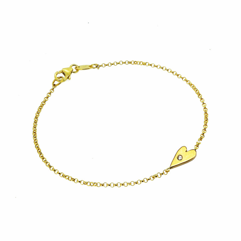 Heart Bracelet with White Sapphire  - Gold