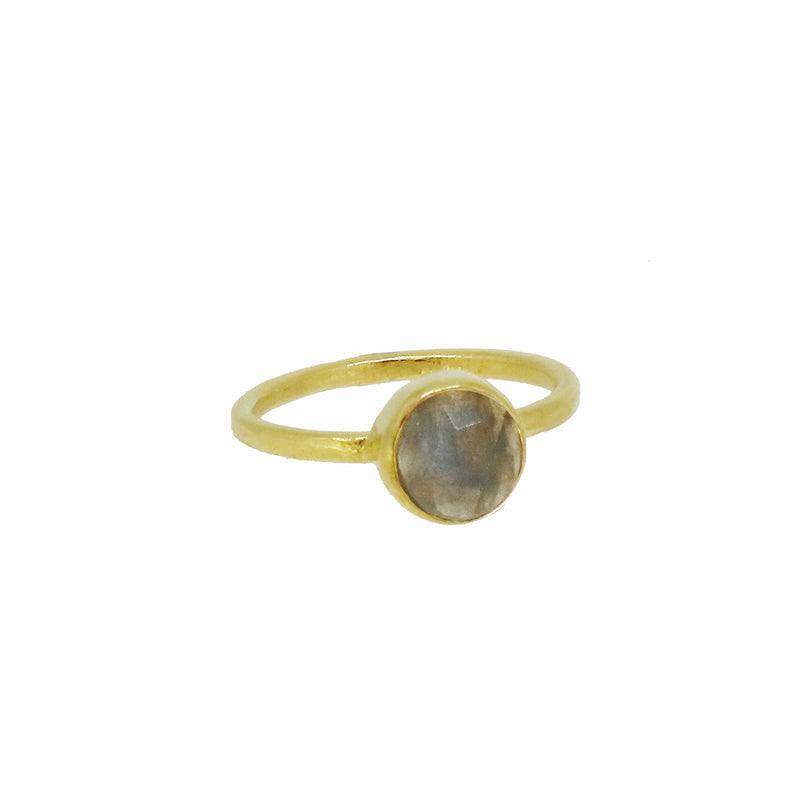 Gold Moonstone Teardrop Statement Ring