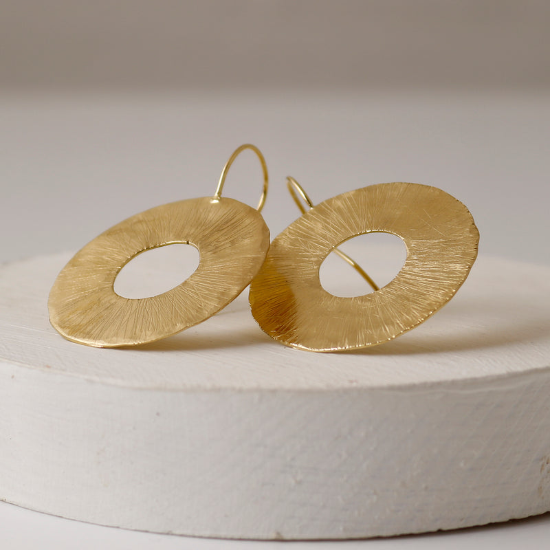 Large Gold Organic Cutout Disc Drop Earrings