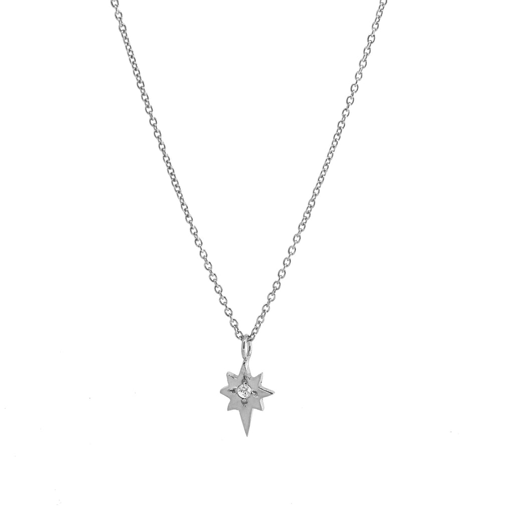North Star Necklace with White Sapphire - Silver
