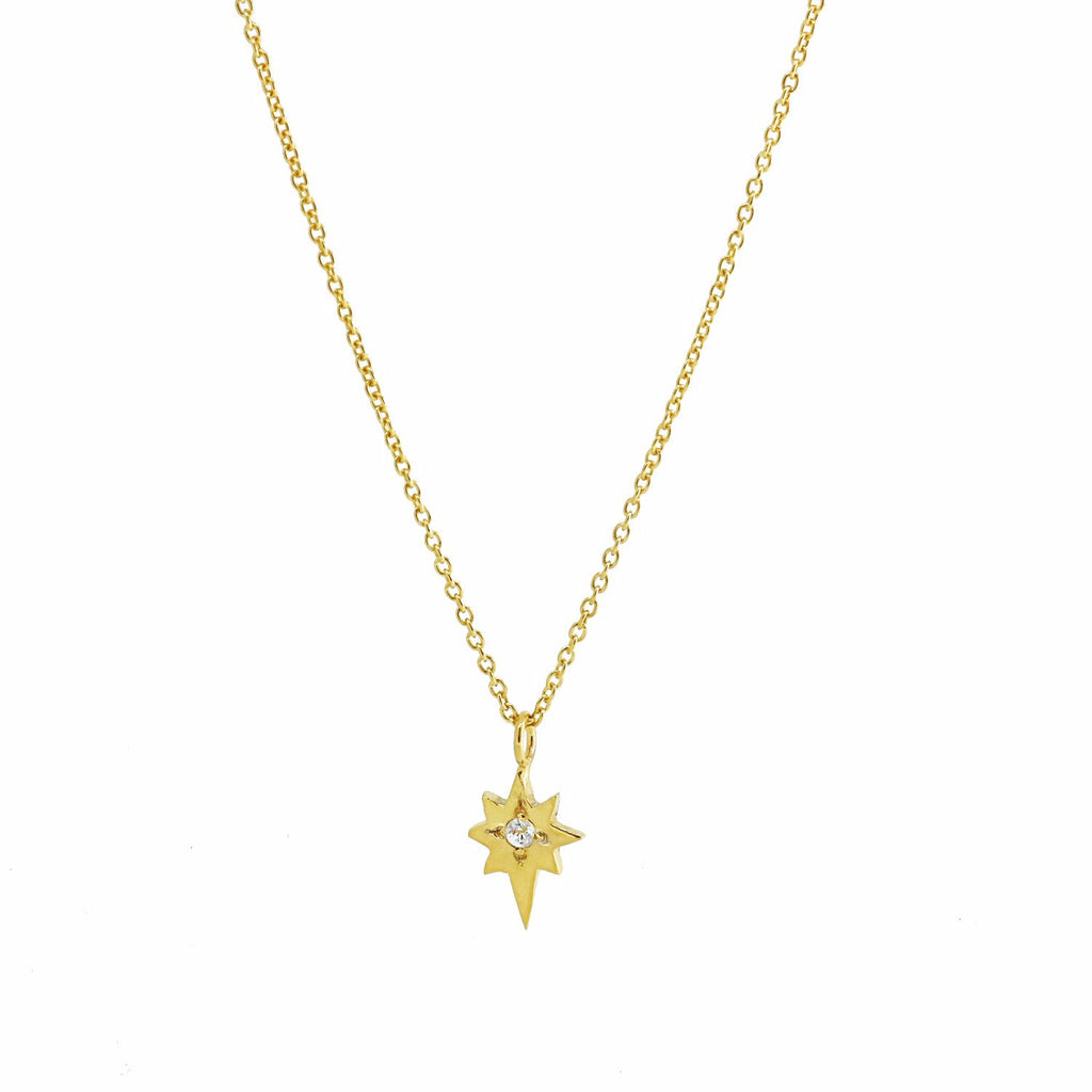 North Star Necklace with White Sapphire - Gold