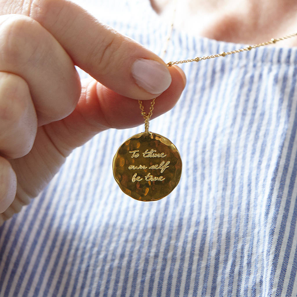 Large Organic Disc Necklace  - Gold