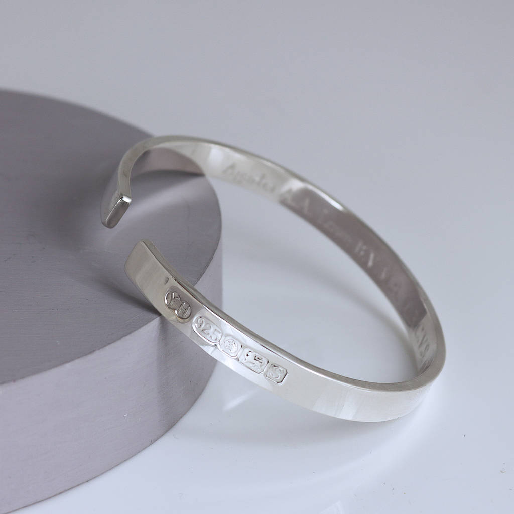 Men's Sterling Silver Open Bangle with Hallmark Detail