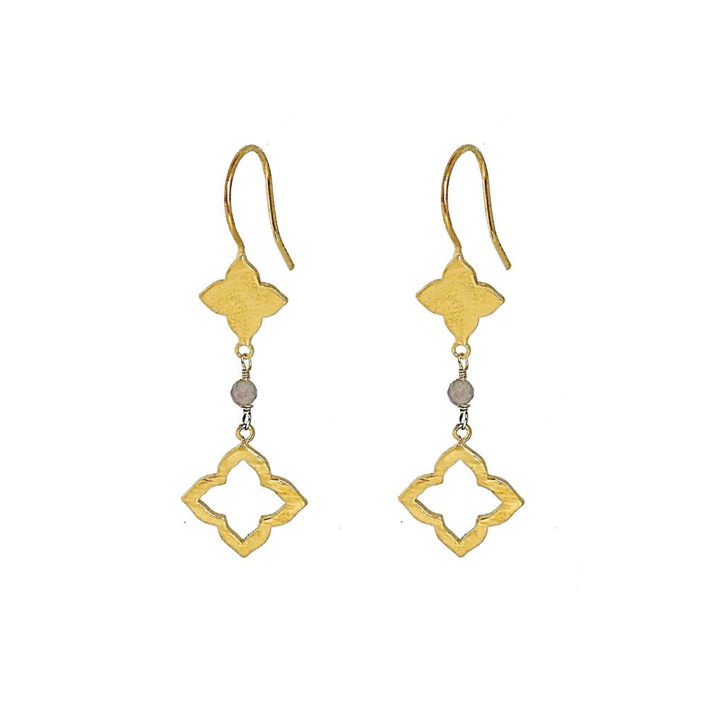 Moroccan Style Clover Drop Earrings with Labradorite - Gold