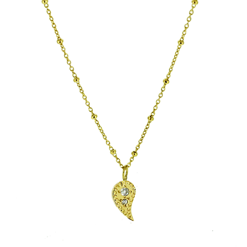 Paisley Charm Necklace with White Sapphires - Gold