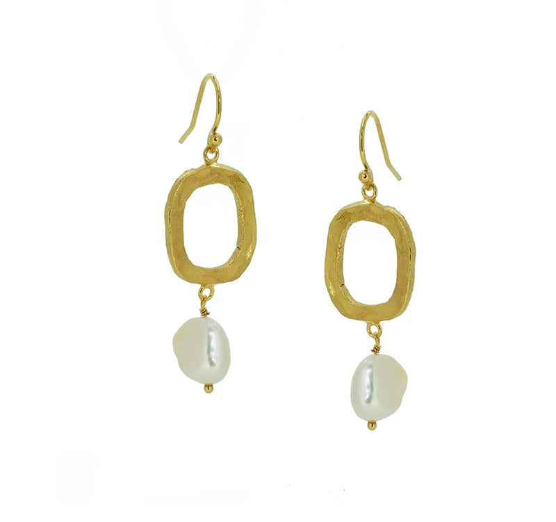 Pearl Drop Earrings on Irregular Loops