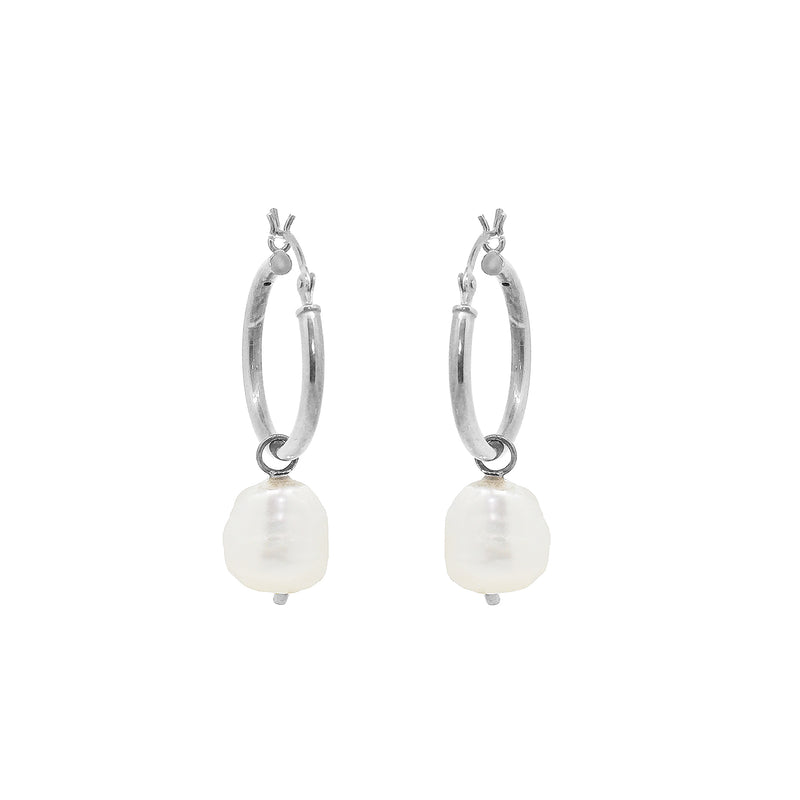 Hoop Earrings with Pearl Drops - Silver