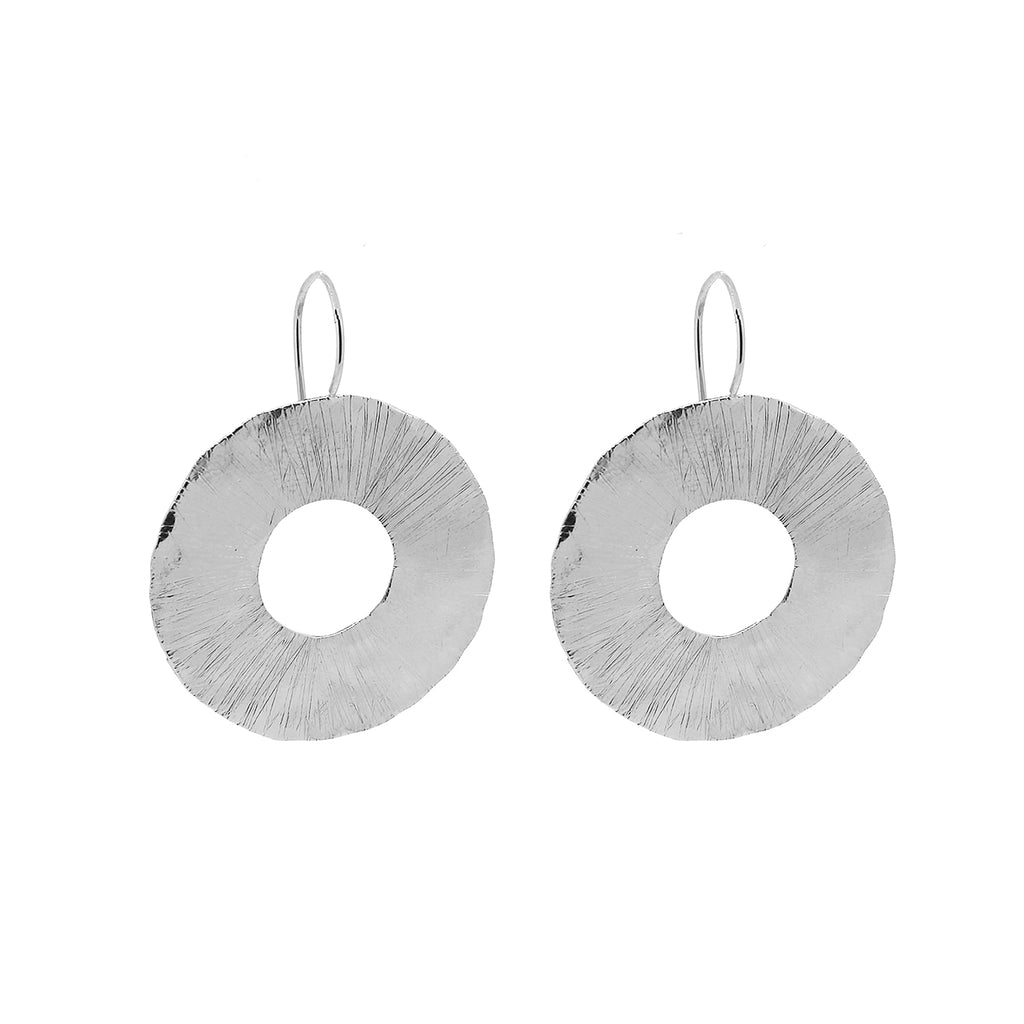 Large Silver Organic Cutout Disc Drop Earrings