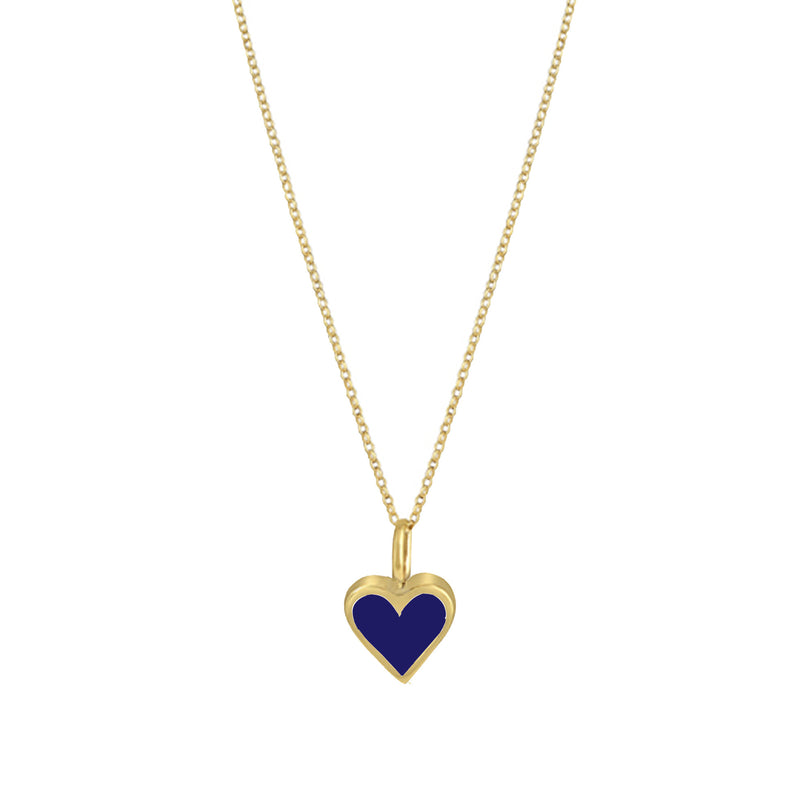 Gold Colour Pop Necklace - Navy Blue