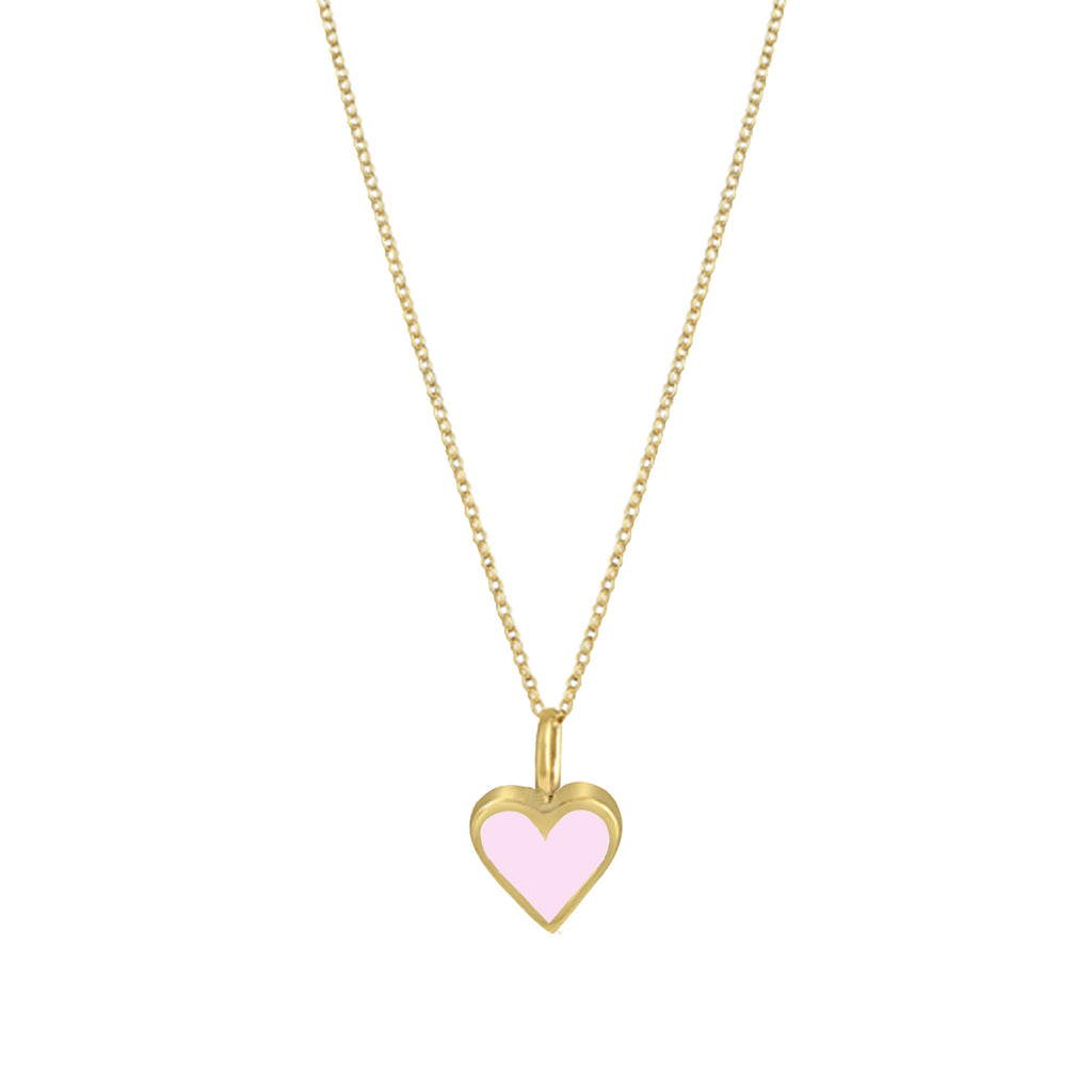 Gold Colour Pop Necklace - Pale Pink