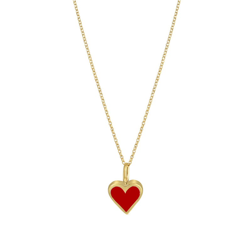 Gold Colour Pop Necklace - Red