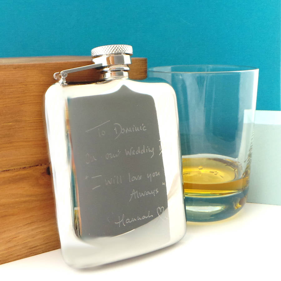 Premium Cushion 6oz Stainless Steel Hip Flask with Captive Lid