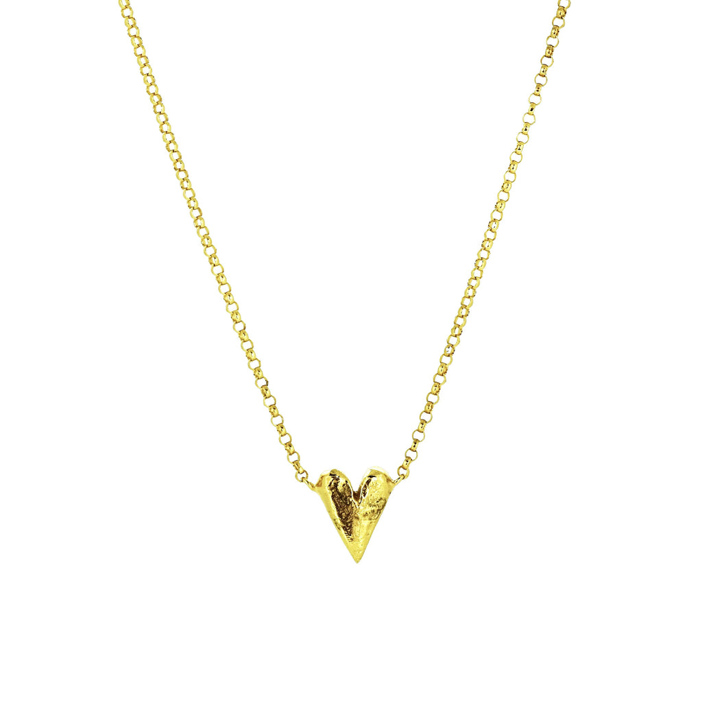 Solid Long Heart Necklace - Gold