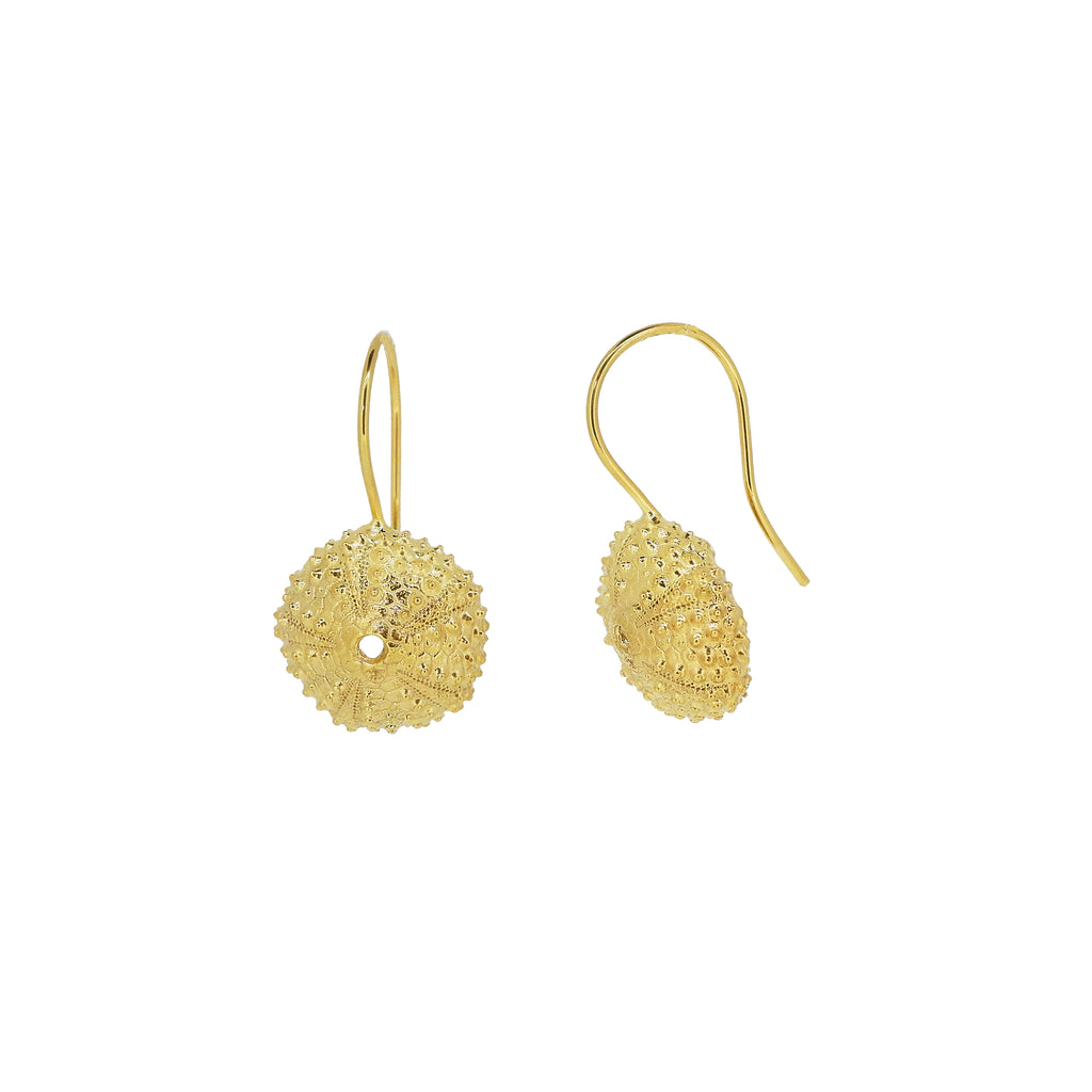 Sea Urchin Drop Earrings - Gold