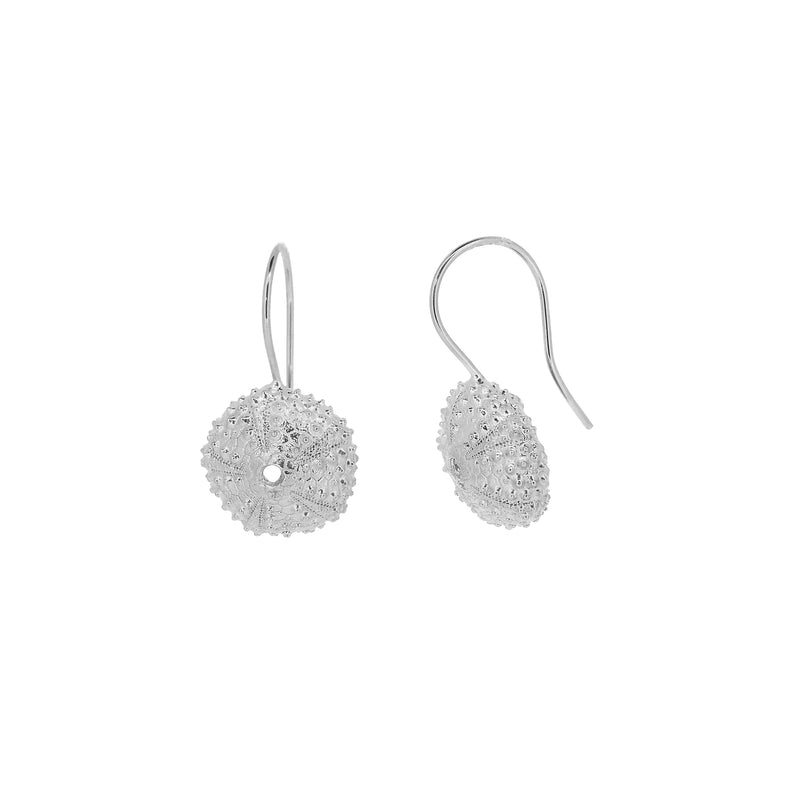 Sea Urchin Drop Earrings - Silver
