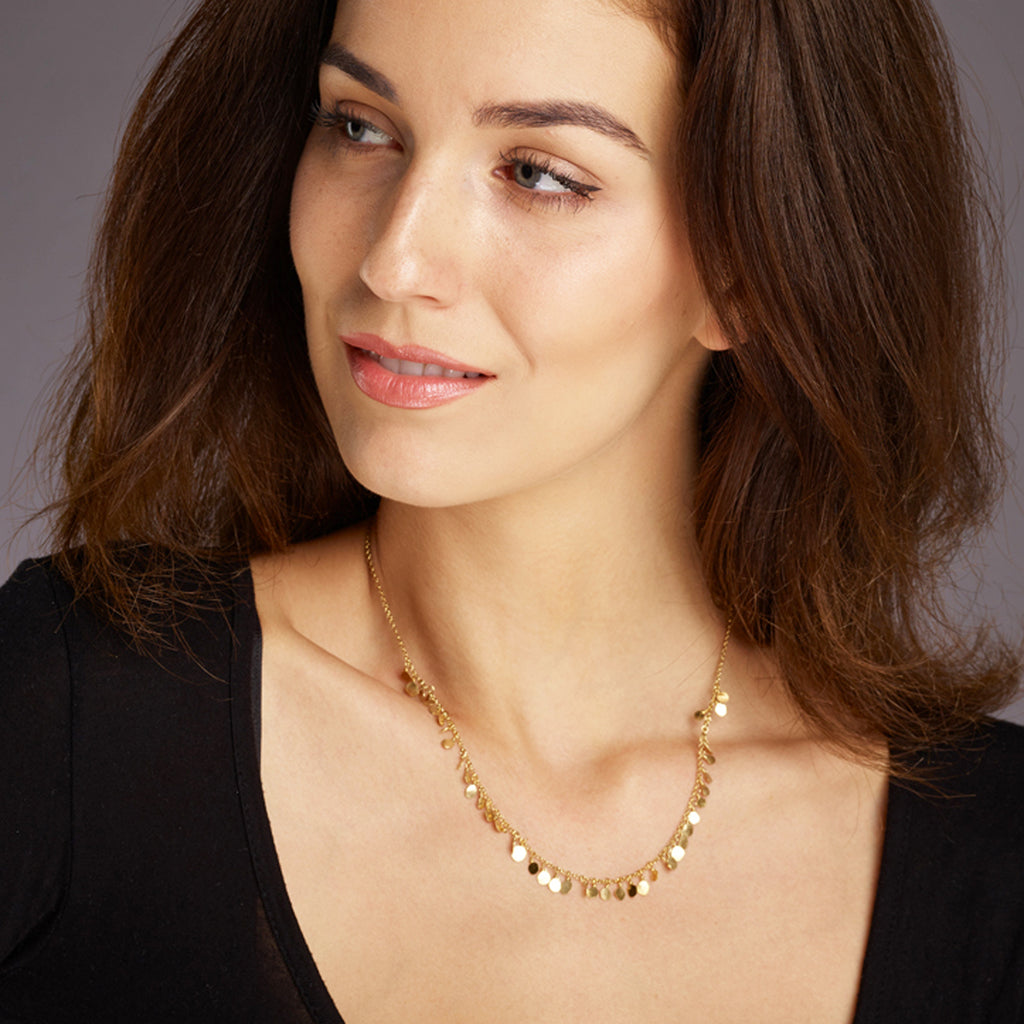 Tiny Sequin Necklace - Gold