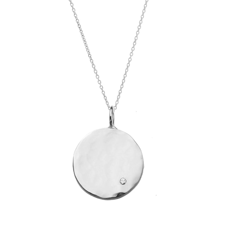Organic Disc Necklace With White Sapphire - Silver