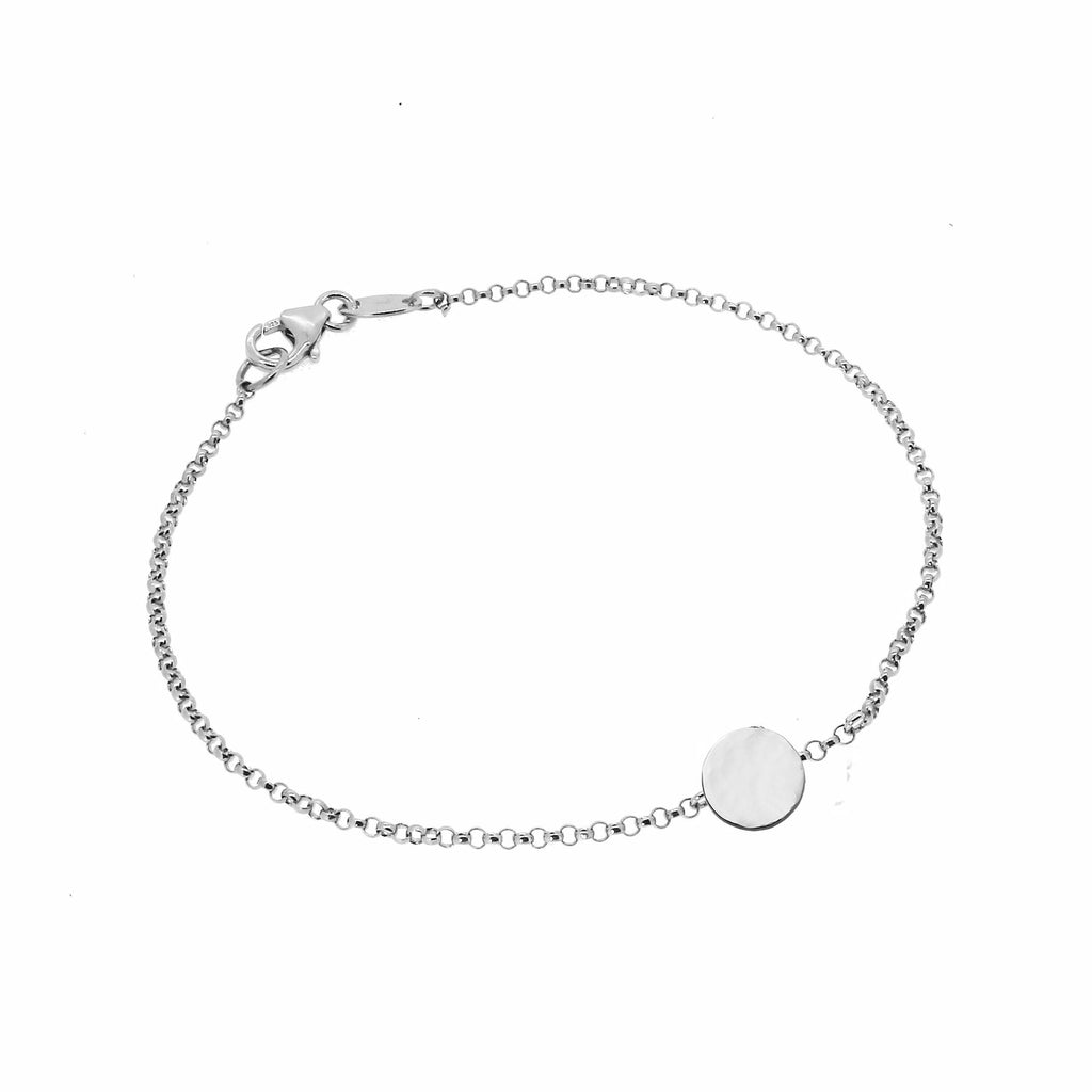 Personalised Hammered Disc Bracelet - Silver (Small)