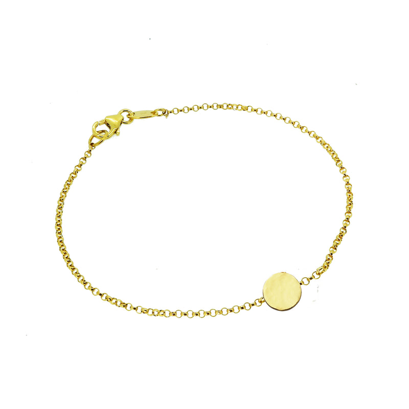 Personalised Hammered Disc Bracelet - Gold (Small)