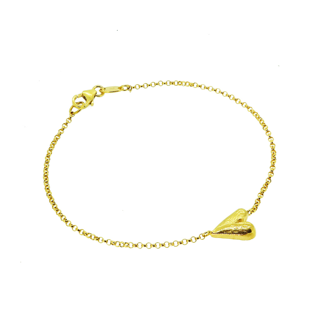 Solid Long Heart Bracelet - Gold