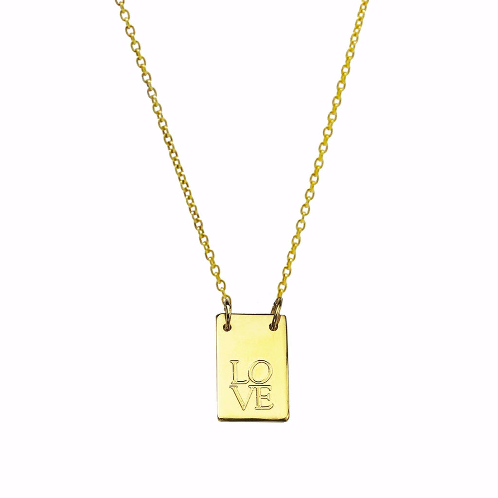 Oblong Personalised Tag Necklace - Gold