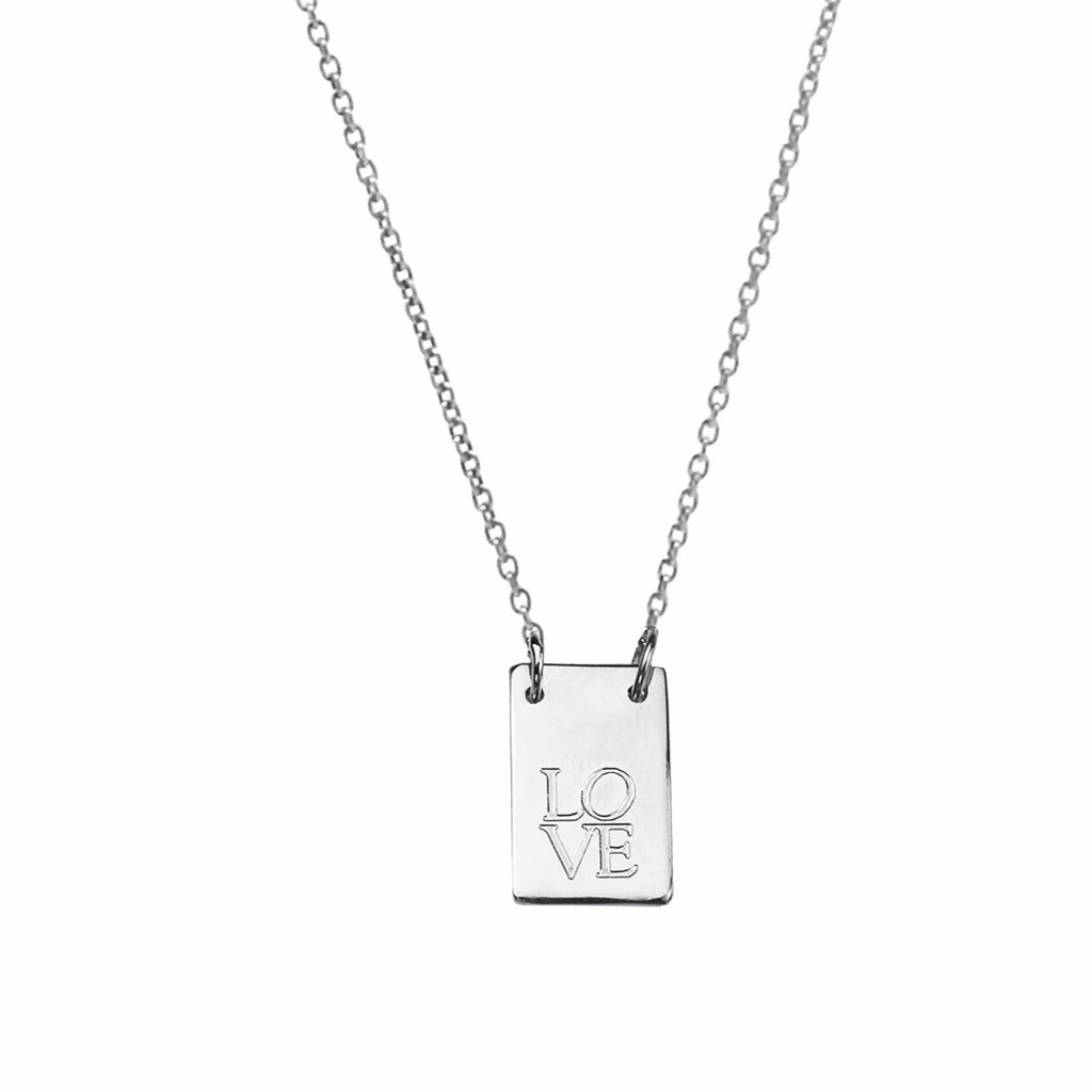 Oblong Personalised Tag Necklace - Silver
