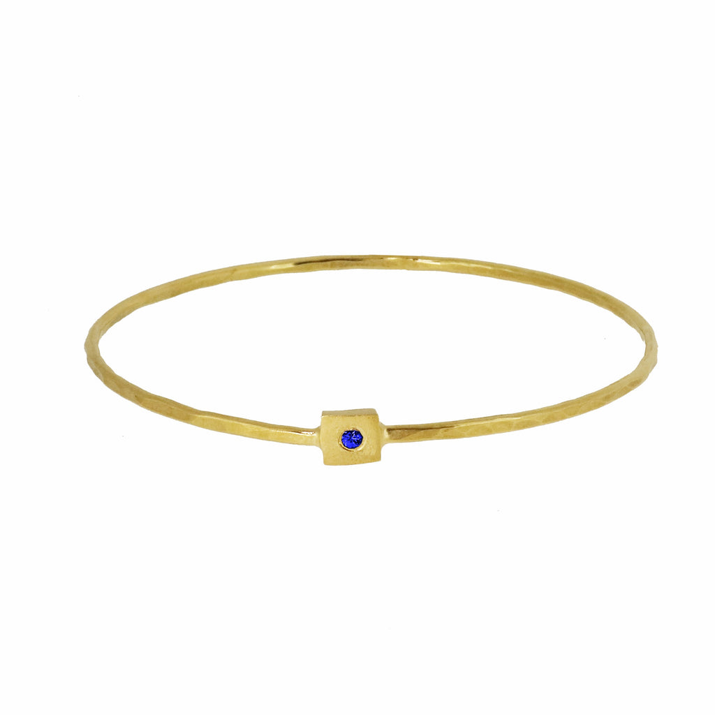 Gold Square Nugget Bangle with Blue Sapphire