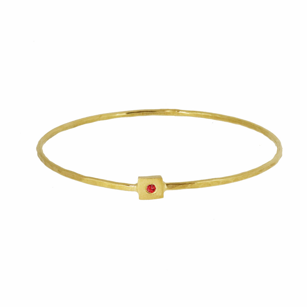 Gold Square Nugget Bangle with Ruby