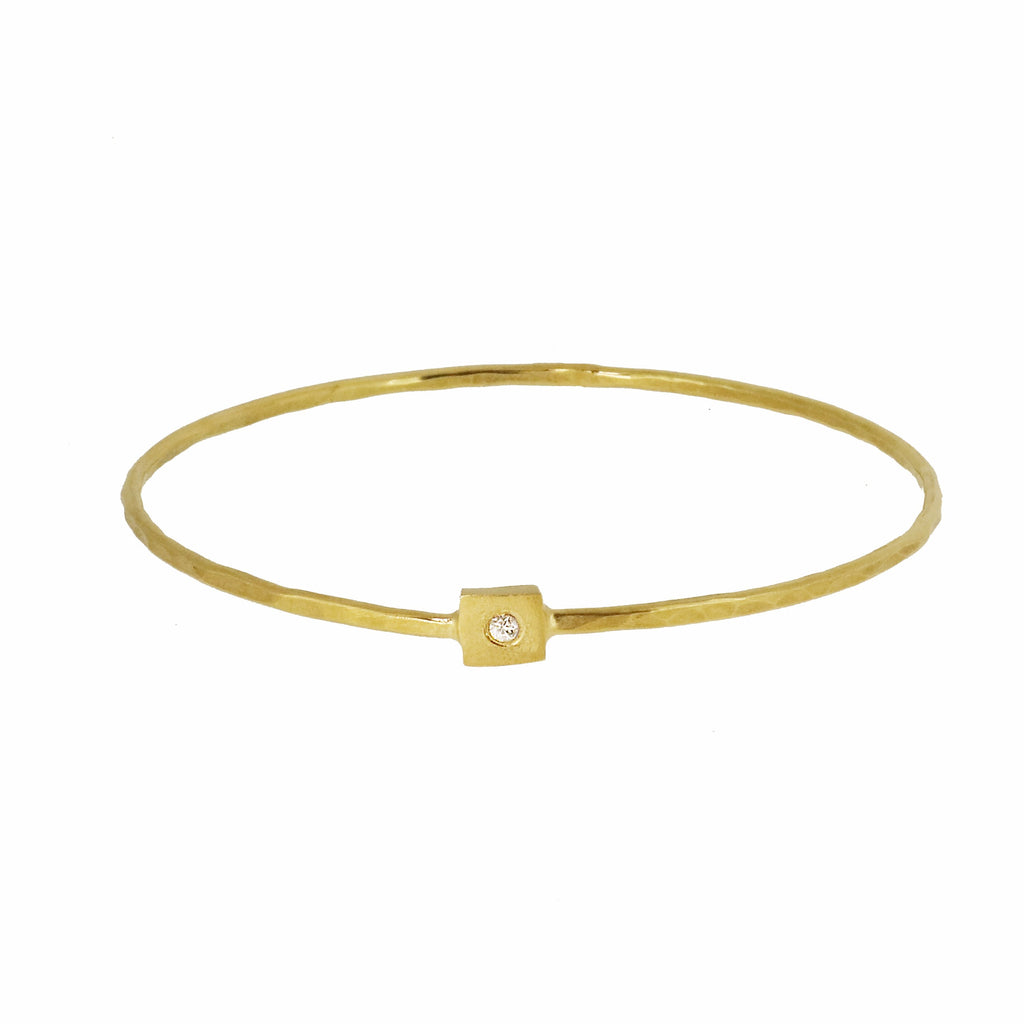 Gold Square Nugget Bangle with White Sapphire