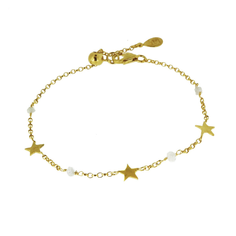 Diamond Nugget and Tiny Star Bracelet - Gold
