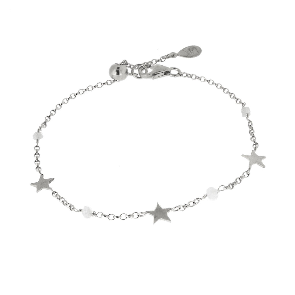 Diamond Nugget and Tiny Star Bracelet - Silver