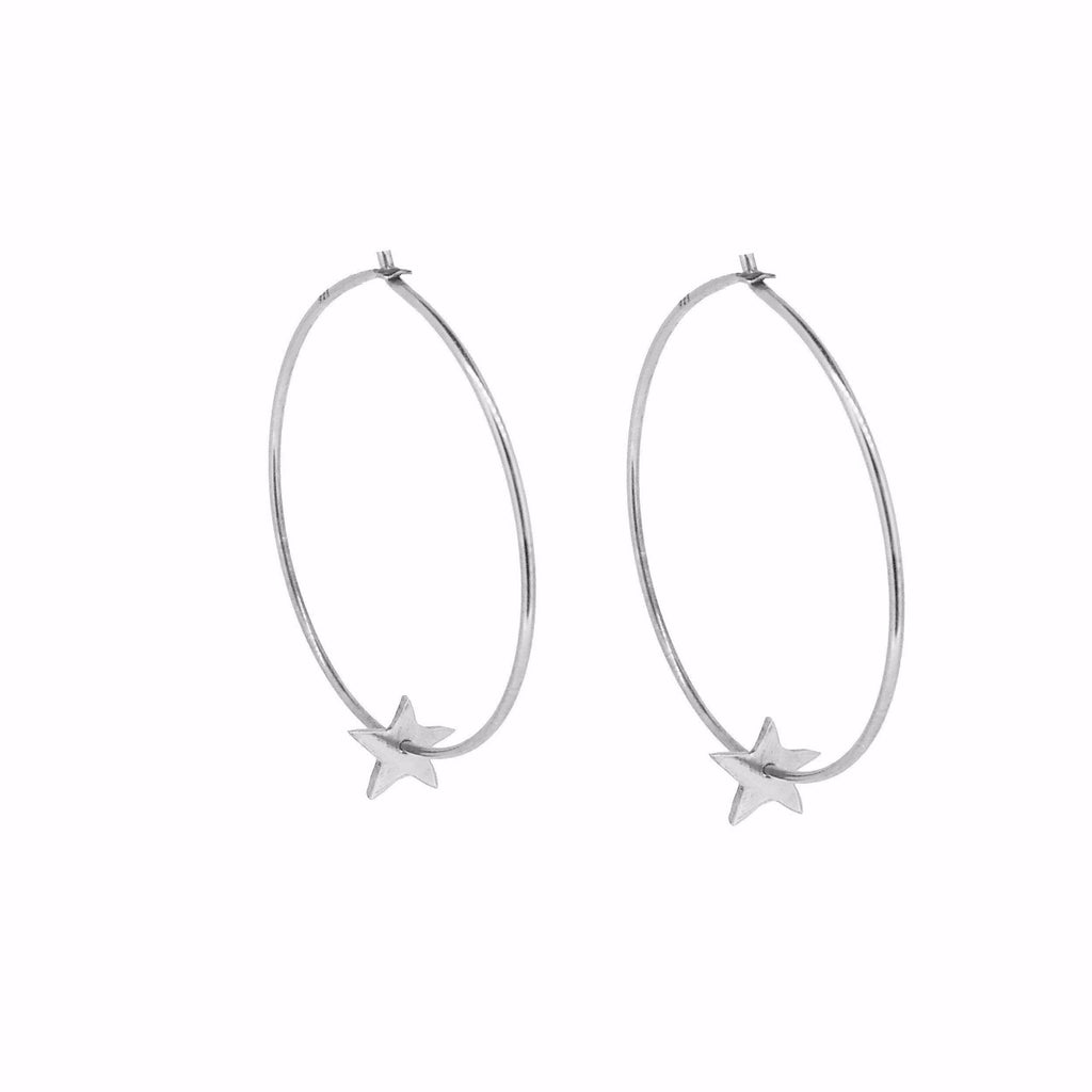 Tiny Star Hoop Earrings - Silver