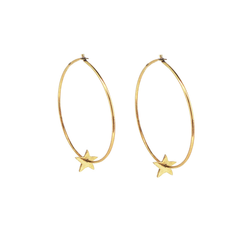 Tiny Star Hoop Earrings - Gold