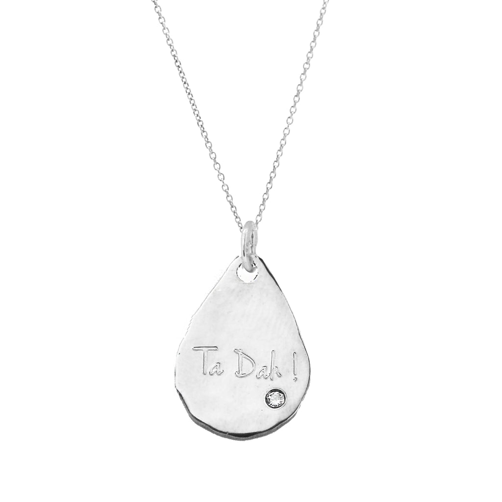 Teardrop Necklace with White Sapphire - Silver