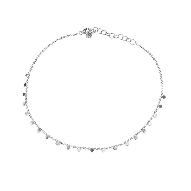 Tiny Dot Choker Necklace - Silver