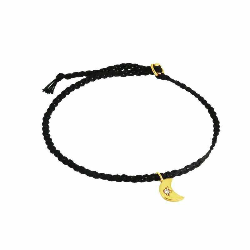Silk Friendship Bracelet with Tiny Crescent Moon Charm - Black