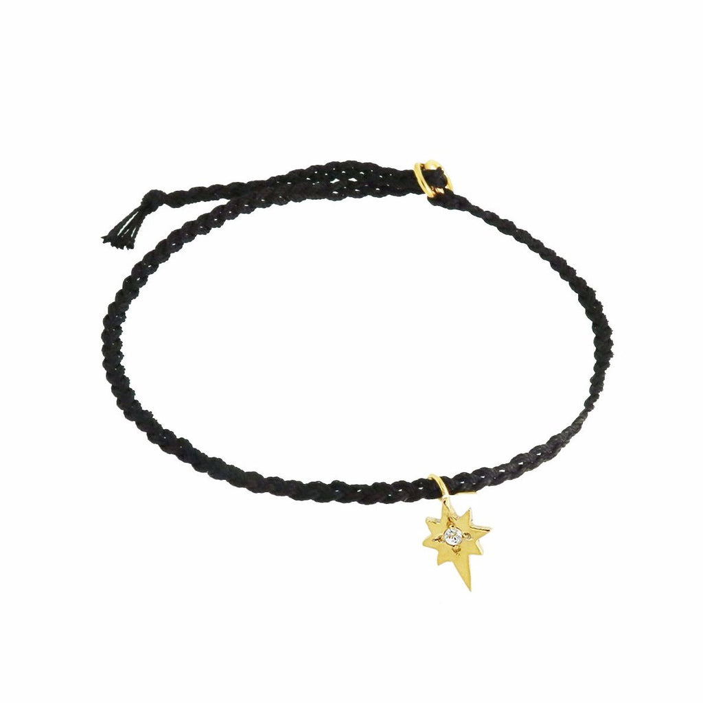 Silk Friendship Bracelet with Tiny North Star Charm - Black