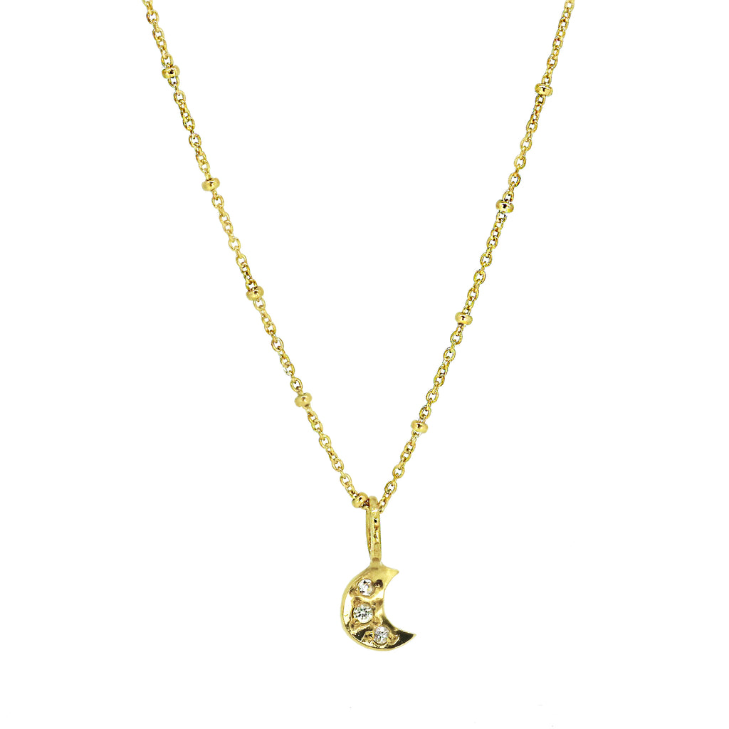 Tiny Moon Necklace with Pave Set White Sapphires - Gold