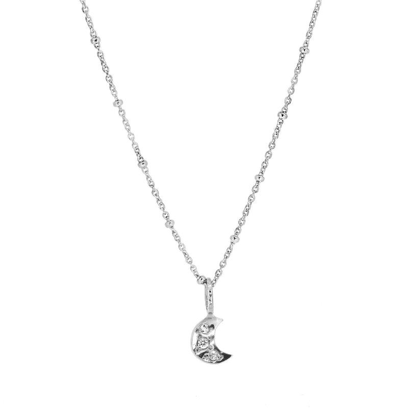 Tiny Moon Necklace with Pave Set White Sapphires - Silver