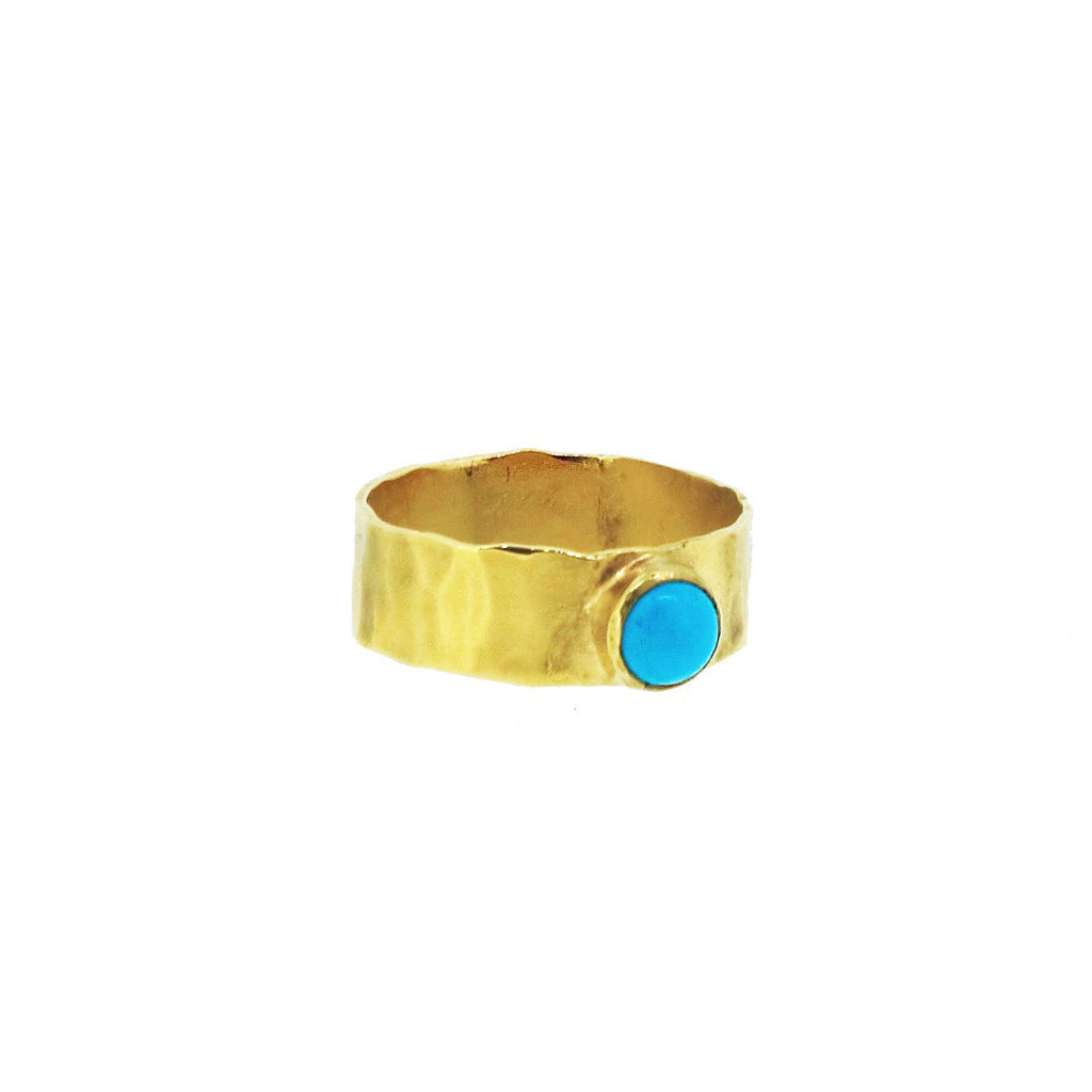 Hammered Band Ring with Turquoise Cabochon - Gold