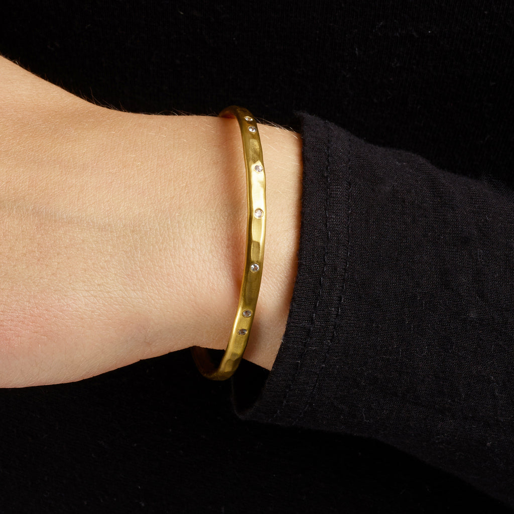 Torque Bangle with White Sapphires - Gold