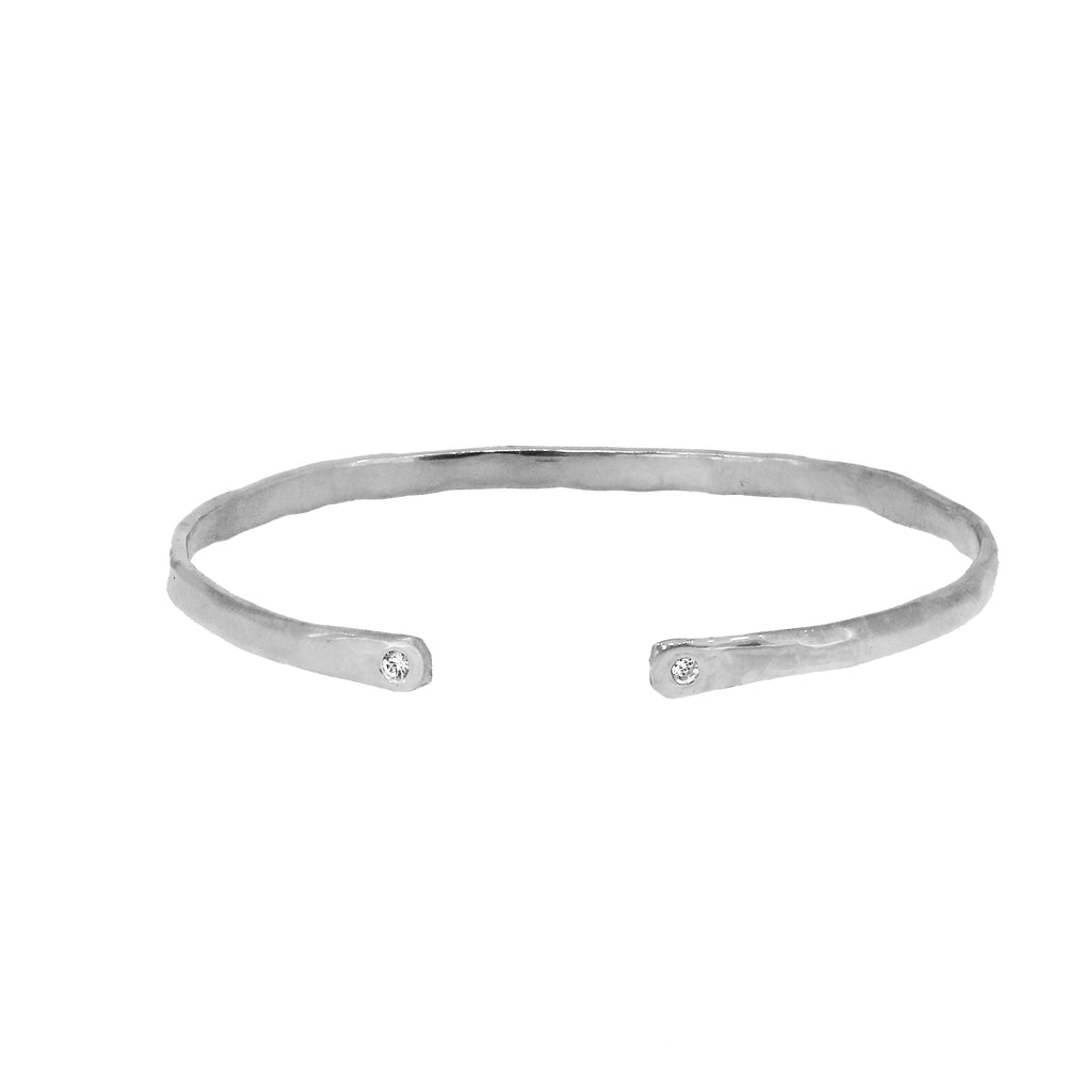 Silver Torque Bangle with White Sapphires