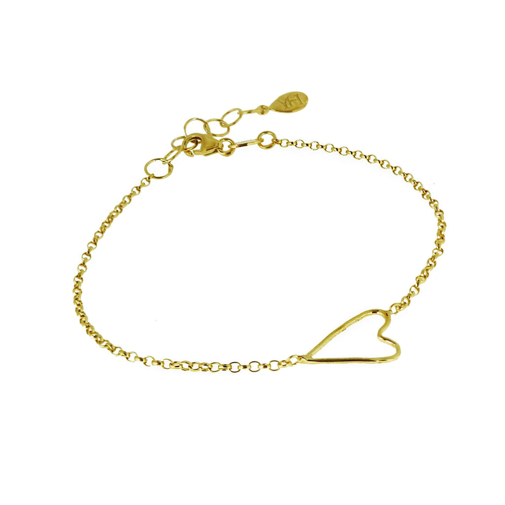 Open Wire Heart Bracelet - Gold