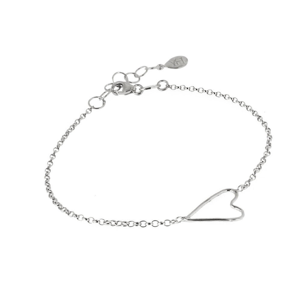 Open Wire Heart Bracelet - Silver