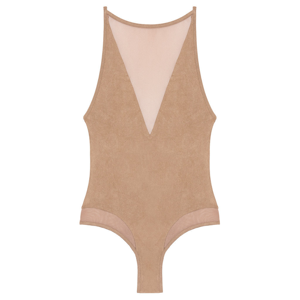 Lara Sueded Mesh Bodysuit