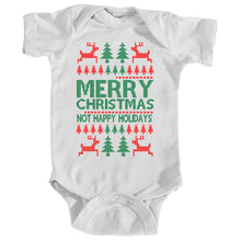 Onesie - Ugly Christmas Sweater - Merry Christmas Not Happy Holidays