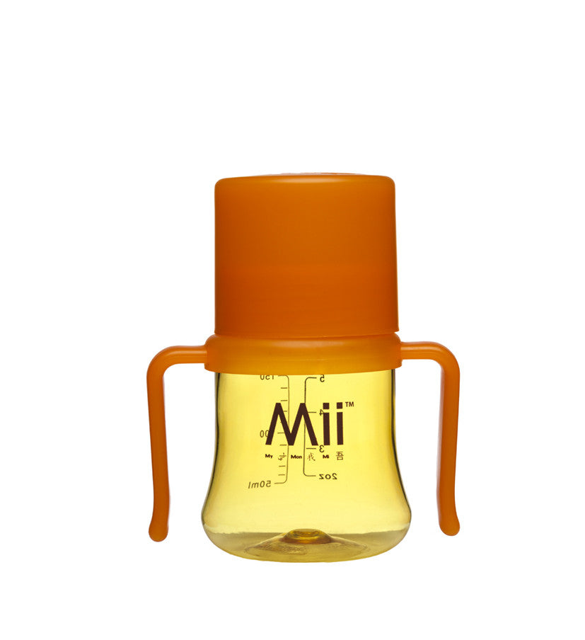 mii baby true transition training cup, sleek patented design,medical grade silicone spout, superior quality material from Switzerland in orange/ yellow,looks like glass but unbreakable,lightweight, soft eronomic handles  perfect for tiny hands