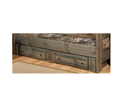 Pine 2 Underbed Storage Drawers in Rustic Grey