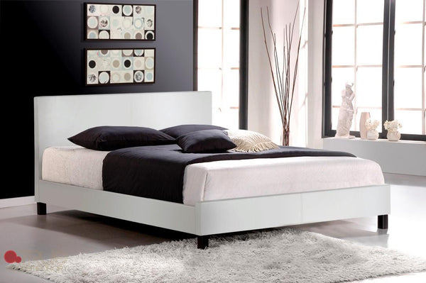 Mirabel White Faux Leather Full (Double) Platform Bed by True Contemporary
